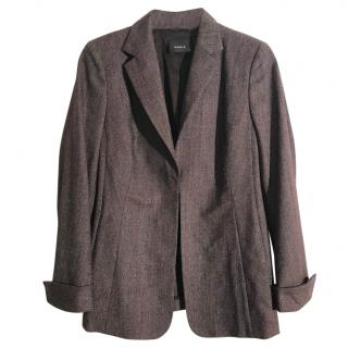 AKRIS brown-burgundy Italian wool suit jacket