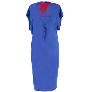 Alexander McQueen Blue Sheer Embroidered Dress