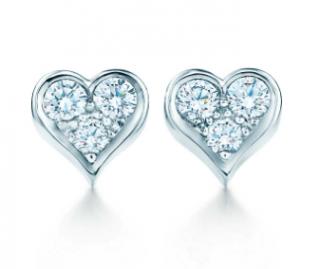 Tiffany Hearts Platinum 0.37ct Diamond Earrings