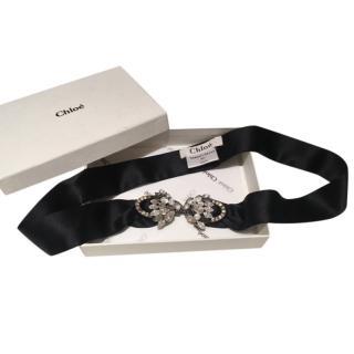 Chloe Black Silk Embellished Evening Belt