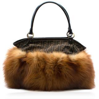Fendi Zucca Fox Fur Shoulder Bag