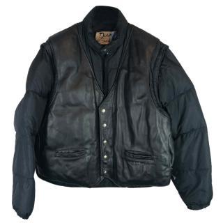 Schott NYC Down Leather & Nylon Puffa Jacket