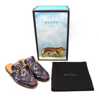 Gucci Ghost Navy Princetown Slippers