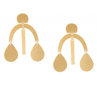Annie Costello Gold-plated Brass Arc Drop Earrings