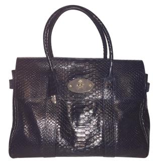 Mulberry Silky Snakeskin Navy Bayswater Bag