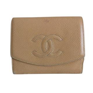 Chanel Beige Caviar Leather Purse