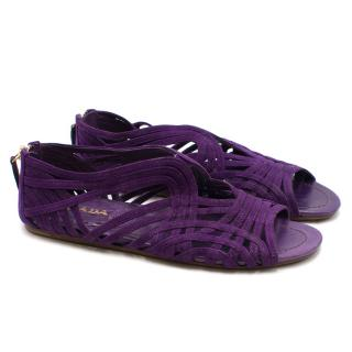 Prada Suede Purple Cutout Flat Sandals