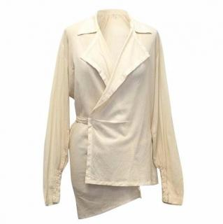 Dries Van Noten Cream Wrap Blouse