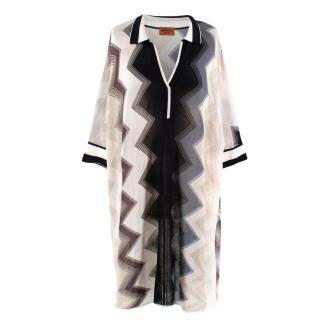 Missoni Black and White Chevron Striped Kaftan