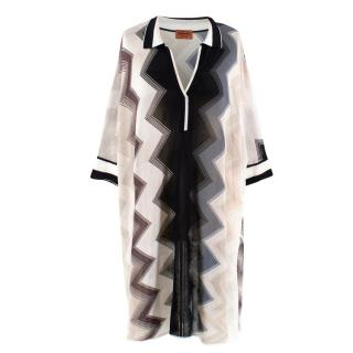 Missoni Black and White Chevron Striped Kaftan