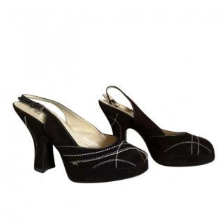Prada Suede Peep Toe Sandals