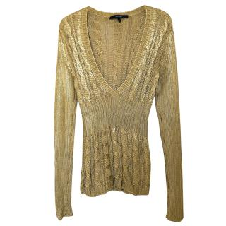 Gucci gold v-neck metallic cable knit sweater