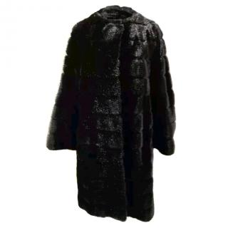 Kate Spade New York Black Mink Faux Fur Coat