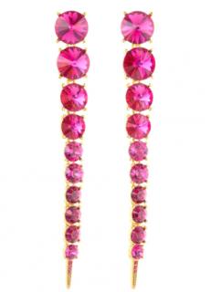 Oscar De La Renta Pink Crystal Tendril Drop Earrings