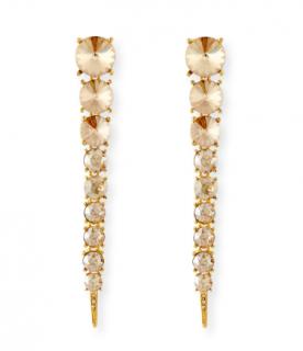 Oscar De La Renta Gold Crystal Tendril Long Stud Earrings