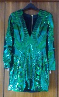 Balmain X H&M green sequined dress