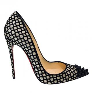 Christain Louboutin Black and Gold Mesh Pumps