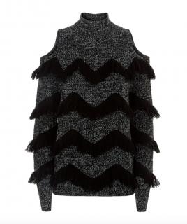 Zoe Jordan Black Hawking Fringed Cold Shoulder Wool Cashmere Sweater