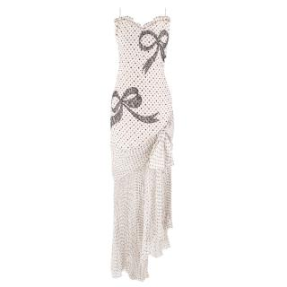Bespoke Silk Polka Dot & Lace Bow Embellished Gown