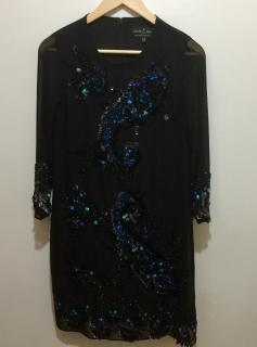 Needle & Thread embellished black chiffon dress