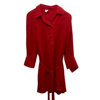 Halston Heritage red silk Shirt dress