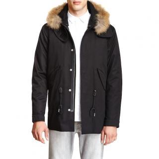 Sandro Men�s Manteau black parka with racoon fur trimmed hood