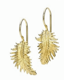 Dower and Hall Gold Feather Earrings