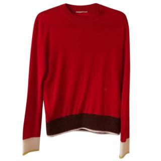 Celine Red wool fine knit jumper