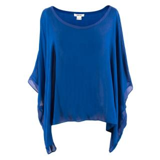 Helmut Lang Cobalt Blue Silk-blend Batwing Top