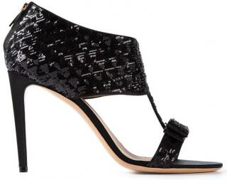 Salvatore Ferragamo Black Sequin Sandals