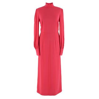 Giles Pink High-neck Embellished Cuff Maxi Dress