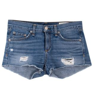 Rag & Bone Blue Denim Distressed Shorts