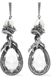 Alexander McQueen Silver-Plated Crystal And Faux Pearl Earrings