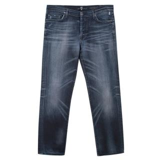 7 For All Mankind Men's Blue Distressed Jeans