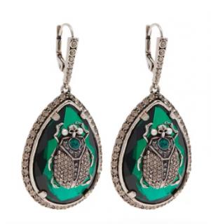 Alexander McQueen Green Crystal Scarab Hook Drop Earrings