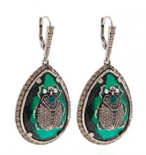 Alexander McQueen Green Crystal Scarab Hook Drop Earrings