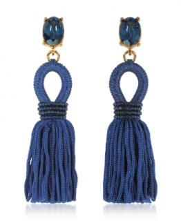 Oscar De La Renta Blue Crystal Silk Tassel Earrings