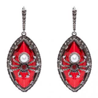 Alexander McQueen Red Crystal Spider Earrings