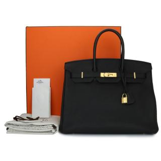 Hermes Black Togo Leather 35cm Birkin Bag