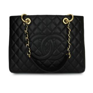 Chanel Black Caviar Grand Shopping Tote Bag