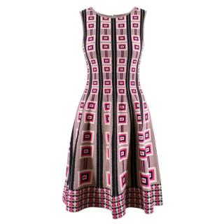 Issa London Geometric Abstract Patterened Knitted Dress