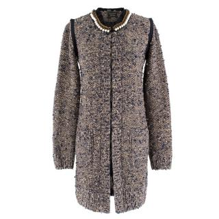 Lanvin Metallic Knit Faux-pearl Collarless Long Jacket