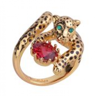 Les Nereides Jewelled Leopard Wrap Ring