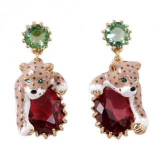 Les Nereides 14k Gold Jewelled Leopard Earrings