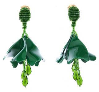 Oscar De La Renta Green Impatiens flower drop earrings