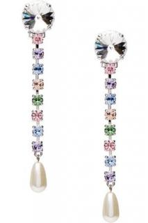 Miu Miu Crystal And Faux-pearl Drop Clip-on Drop Earrings