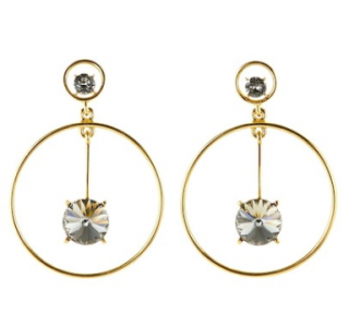 Oscar De La Renta Swarovski Crystal Bar Drop Hoop Earrings