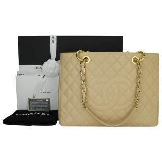 Chanel Beige Clair Caviar Grand Shopping Tote