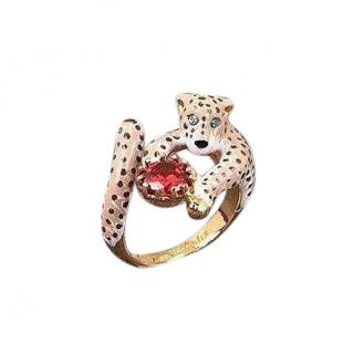 Les Nereides Handcrafted French Glazed Enamel Jewelled Tiger Ring