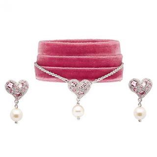 Miu Miu Velvet Pink Crystal Necklace Set